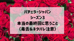 バチェラージャパンシーズン3 本当の最終回に思うこと(毒舌&ネタバレ注意)